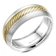 CrownRing yellow gold wedding band with a roped yellow gold center.