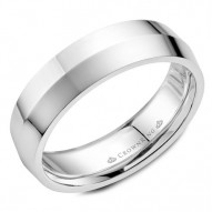 CrownRing white gold wedding band with a knife edge.