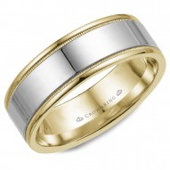 CrownRing yellow gold wedding band with white gold center and milgrain detailing.
