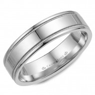 CrownRing white gold wedding band with a polished finish and milgrain detailing.