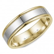 CrownRing wedding band in yellow gold with white gold center and milgrain detailing.
