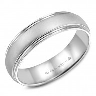 CrownRing white gold wedding band with a sandblast center.