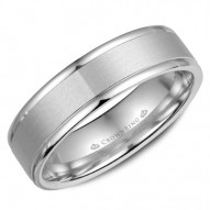 CrownRing white gold wedding band with a sandblast center and polished edges.