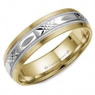 CrownRing yellow gold wedding band with a patterned white gold center.
