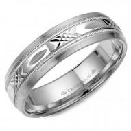 CrownRing white gold wedding band with a patterned  center.