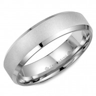 CrownRing white gold wedding band with a sandblast  center and beveled edges.