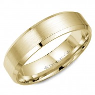 CrownRing yellow gold wedding band with brushed  center and beveled edges.
