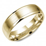CrownRing yellow gold wedding band with brushed center.