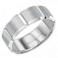 CrownRing white gold wedding band with carved detailing.