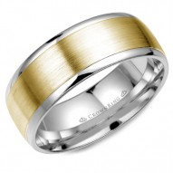 CrownRing white gold wedding band with brushed yellow gold center.