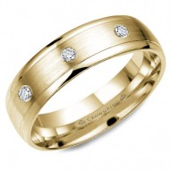 CrownRing yellow gold wedding band with brushed center and eight round diamonds.