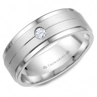 CrownRing white gold wedding band with a sandblast center and a round diamond.