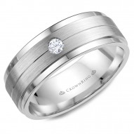 CrownRing white gold wedding band with brushed center and a round diamond.