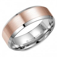 CrownRing rose gold wedding band with white gold center and beveled edges.