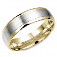 CrownRing wedding band in yellow gold with brushed white gold center.