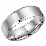 CrownRing white gold wedding band with brushed center and beveled edges.