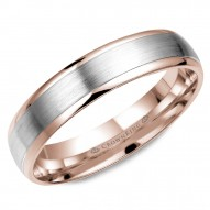 CrownRing rose gold wedding band with white gold brushed center.