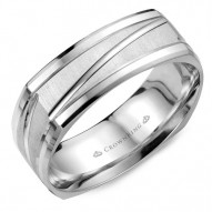 CrownRing A soft square white gold wedding band with a sandblast center and line detailing.