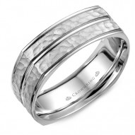 CrownRing A soft square wedding band with a hammered center and line detailing.