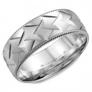 CrownRing white gold wedding band with a patterned center and milgrain detailing.