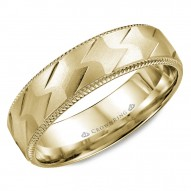 CrownRing yellow gold wedding band with a patterned center and milgrain detailing.