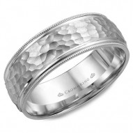 CrownRing white gold wedding band with a hammered center and milgrain detailing.
