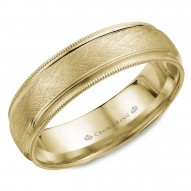 CrownRing yellow gold wedding band with a diamond brushed center and milgrain detailing.