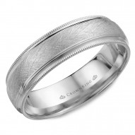 CrownRing white gold wedding band with a diamond brushed center and milgrain detailing.