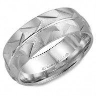 CrownRing A patterned wedding band in white gold with a polished line in the center.