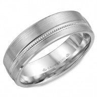 CrownRing brushed wedding band with milgrain detailing.