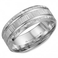 CrownRing white gold wedding band with a bark finish and line detailing.