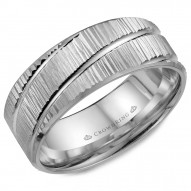 CrownRing white gold wedding band with a bark finish and diagonal line detailing.