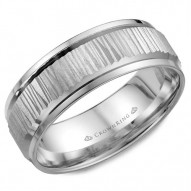 CrownRing white gold wedding band with a bark center.