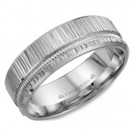 CrownRing white gold wedding band with a bark finish and mailgrain detailing.