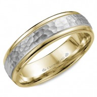 CrownRing yellow gold wedding band with milgrain detailing and a textured white gold center.