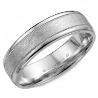 CrownRing white gold wedding band with a textured center and milgrain detailing.