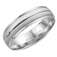 CrownRing A textured white gold wedding band with line and milgrain detailing.