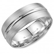 CrownRing A textured white gold wedding band with line detailing.