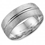 CrownRing white gold wedding band with a diamond brushed center and line detailing.