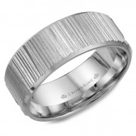 CrownRing white gold wedding band with a bark finish.