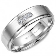 CrownRing wedding band in white gold with brushed center and three diamonds in a prong setting.