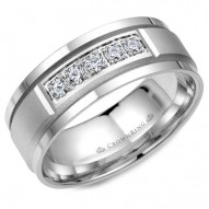 CrownRing wedding band in white gold with brushed center and five diamonds.