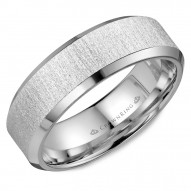 CrownRing wedding band with beveled edges and a textured sandblast center.
