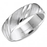 CrownRing extured white gold wedding band with line detailing.