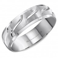 CrownRing wedding band with brushed center and line detailing.