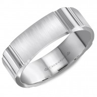 CrownRing white gold wedding band with notch detailing.