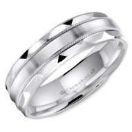 CrownRing wedding band with brushed center, milgrain detailing and textured edges.