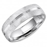 CrownRing wedding band in white gold with a diamond brushed finish and a polished center.