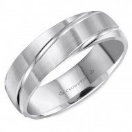 CrownRing brushed wedding band with diagonal line detailing.