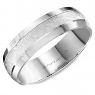 CrownRing white gold wedding band with a textured center and beveled edges.